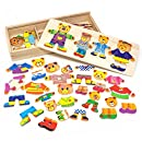 Lewo Wooden Jigsaw Puzzle Girls Educational Toys Bear Family Dress Up Games for Kids 72 pieces