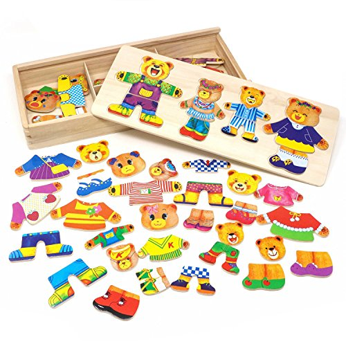Lewo Wooden Jigsaw Puzzle Girls Educational Toys Bear Family Dress Up Games for Kids 72 Pieces from Lewo