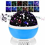 Night Light Baby Sleep Moon Stars Projector Cosmos With Romantic Music 12 Songs USB Charging 360 Degree Rotating Round Lamp 8 Lighting Mode To Relax For Nursery Kids Birthday Children Day Christmas Gift