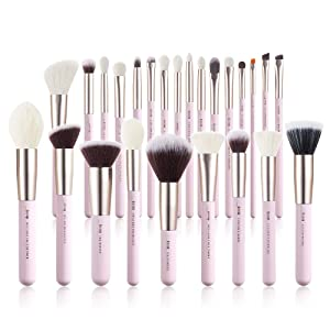 Jessup Makeup Brushes Set Professional, 25PCS Pink Premium Natural Powder Foundation Eyeshadow Blending Concealer Blush Highlight Labeled Brushes, T290