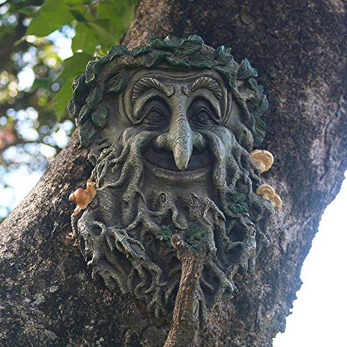JHP Tree Face Sculpture, Flower Planter Pot Hand-Painted Greenman Tree Face Garden Decoration for and Home Décor