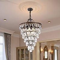 Wellmet Modern Crystal Chandelier 4 Lights Taper Ceiling Pendant Lighting 14 Inch Raindrop Chandeliers for Bedroom…