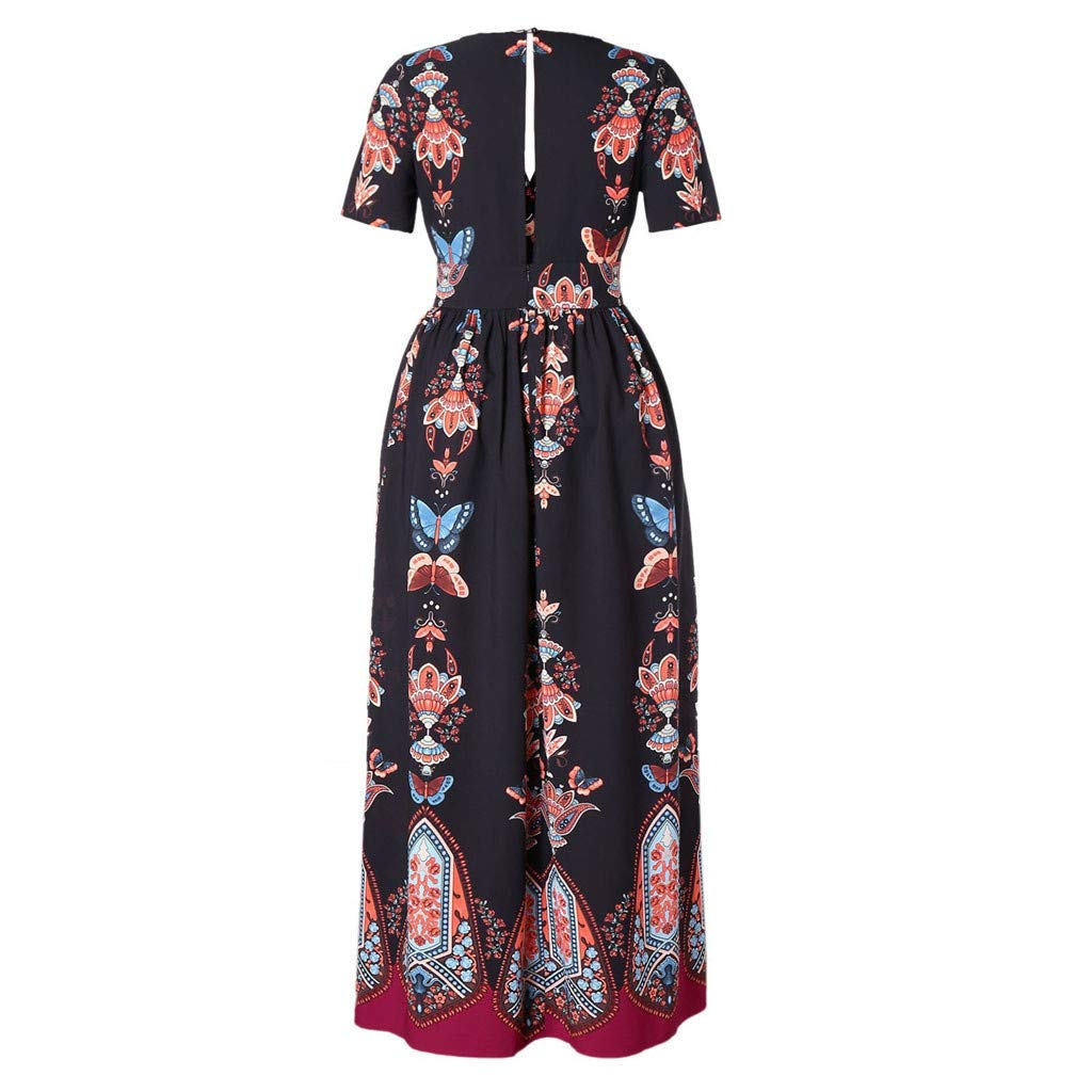 Barthylomo Women Plus Size Butterfly Printed Maxi Dress, V-Neck Short Sleeve Casual Long Midi Dress