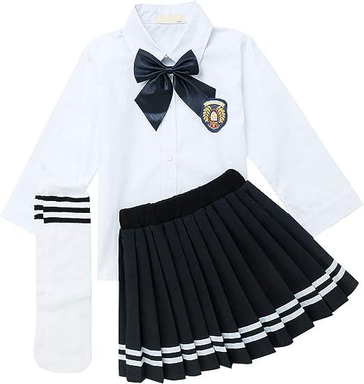 winying winying Mädchen Langarm Weißes Hemd mit Mini