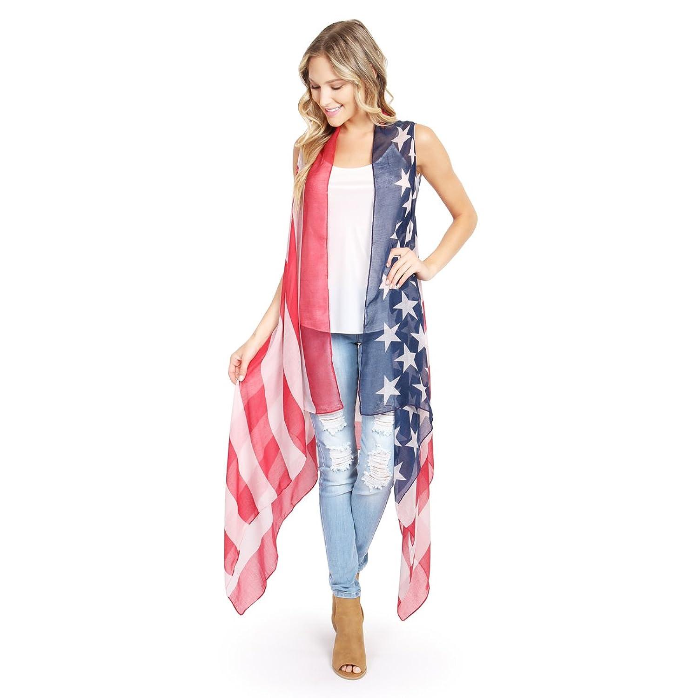 Riah Fashion Women's U.S. Flag Open Front Vest Cardigan