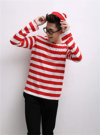 Red and White Striped Shirt with Glasses Hat Sets AICSOLL Wheres Wally Cosplay Costume,Christmas Parent-Child Costume