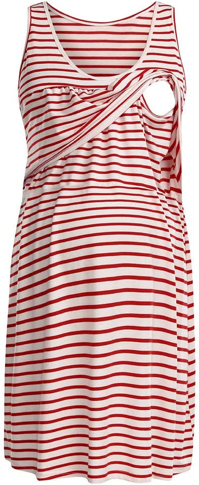 Yliquor Maternity Womens Pregnanty Sleeveless Dress Stripe Nursing Baby Long Dress Lady Clothes for Daily Wearing