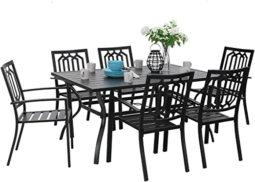 PHI VILLA Outdoor Patio Dining Set 14 Piece with Rectangular Table and 14  Bistro Chairs - Black
