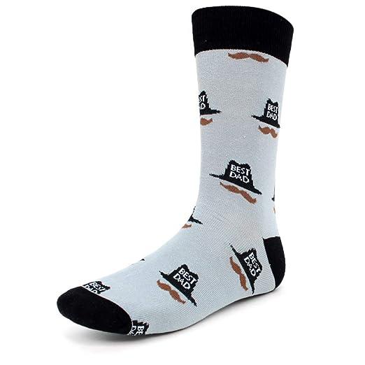 fd66827a779e7 Novelty Dress Socks for Men -Best Dad Grey- Premium Cotton at Amazon ...