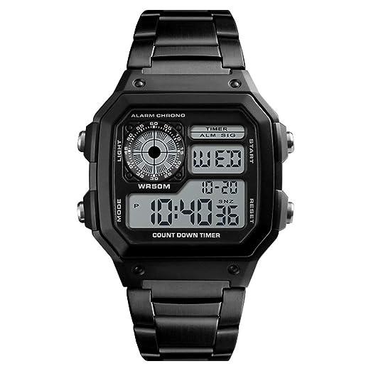 Reloj electrónico Personalidad Cuadrado Digital Hombres Hoverxe Personalidad Termómetro Acero Inoxidable Deporte Cuenta atrás Podómetro Calorías