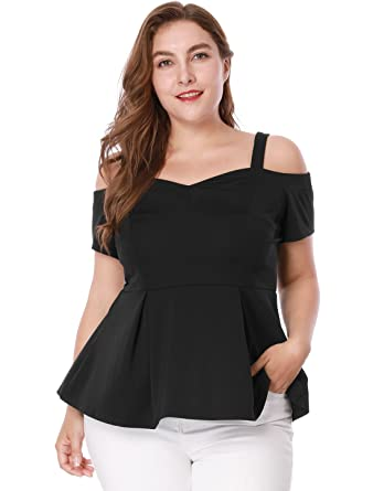 3c10f0c7f2a585 uxcell Women s Plus Size High Waist Sweetheart Cold Shoulder Peplum Top  Black 1X