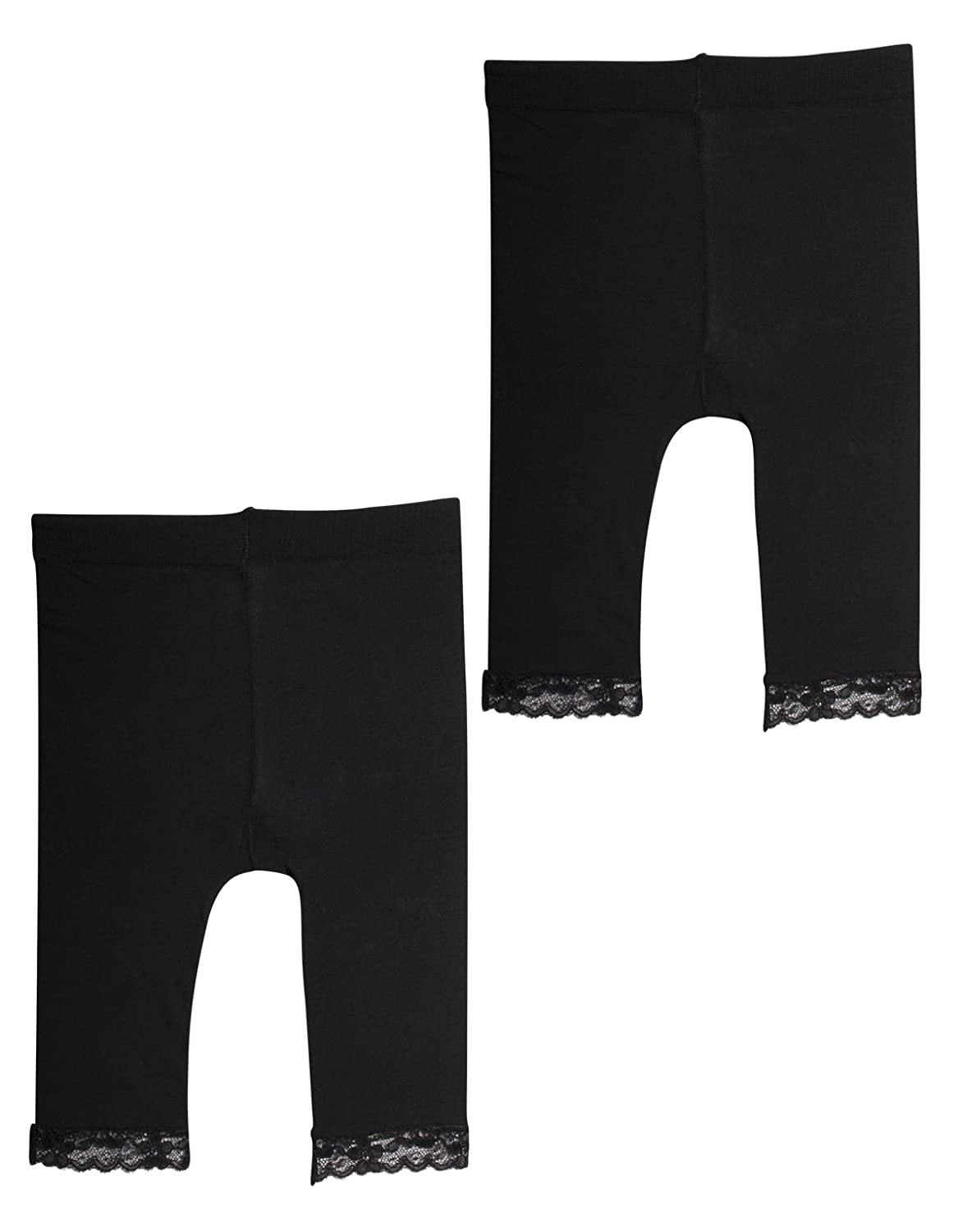 2 PAIRS II LEGGINGS BABY GIRL WITH LACE | NEWBORN TRAUSERS IN MICROFIBRE | 50 DEN | BLACK, WHITE | 12, 18, 24, MONTHS | MADE IN ITALY | 08291X2