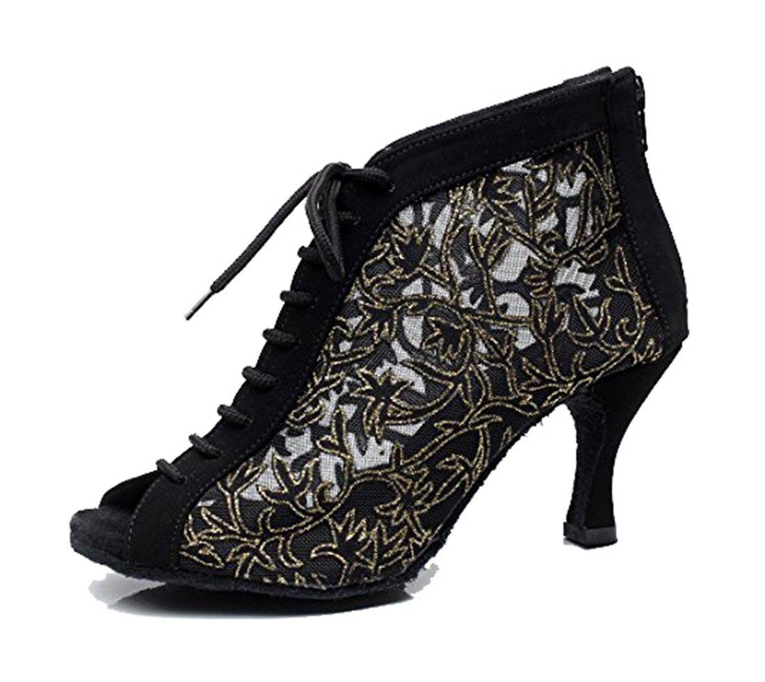 TDA QJ7018 Womens Lace-Up Black Net Salsa Tango Ballroom Latin Wedding Party Dance Shoes 8 M US