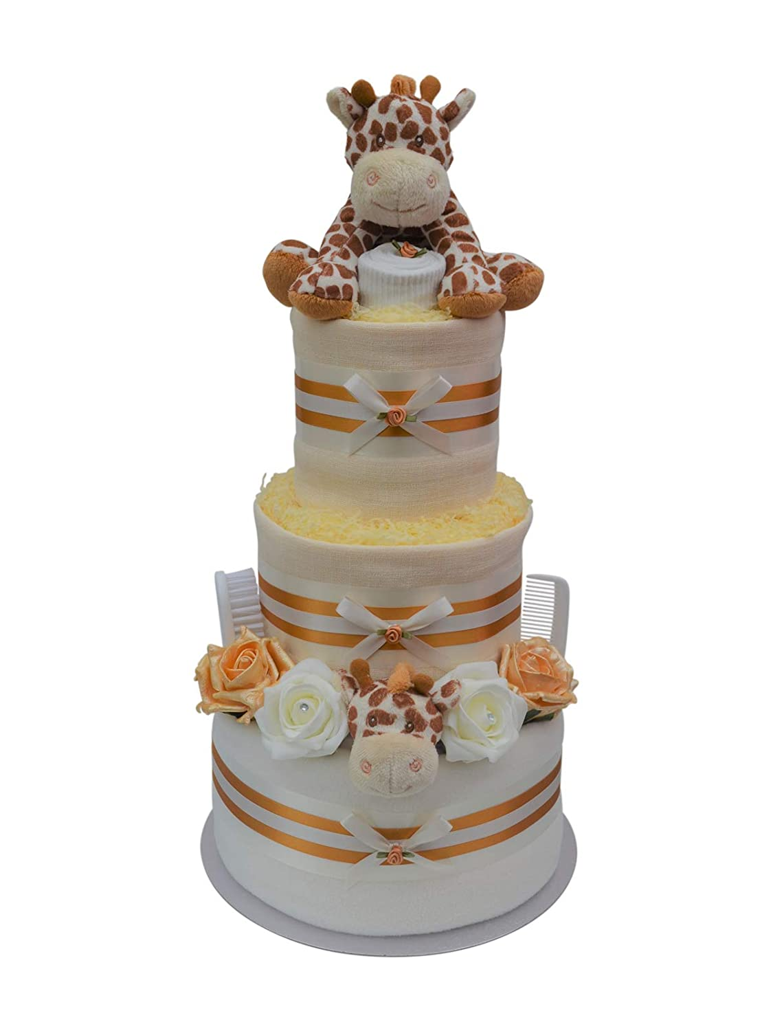 Gorgeous 3 Tier Gold Unisex Giraffe New Baby Nappy Cake New Baby Shower Gift Hamper- Free Delivery! Packaged to Perfection 3TWRGIR