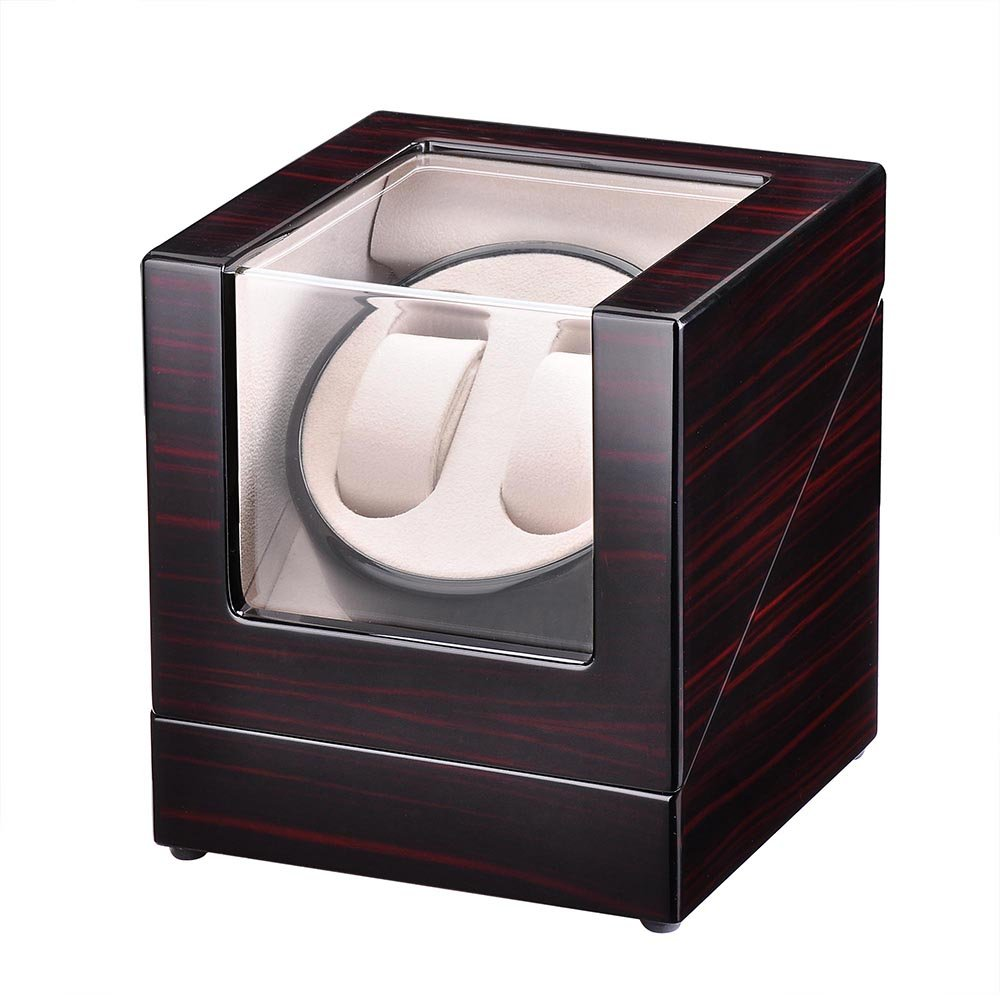 Yeshom Single Motor Automatic Double Watch Winder Display Box Storage Case Organizer Polish Wooden