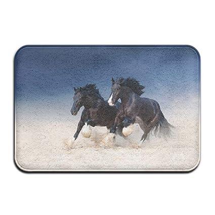 Amazoncom Huvatt Black Horse Run Kicking Dust Home Door Mat Super