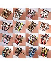 ThyWay 16pcs Handmade Braided Multi Layers Vintage Woven Rope Wrap Bangle Bracelets - Infinity Love