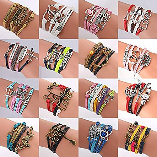 ThyWay Western Style Hot Handmade Vintage Leather Rope Wrap Bangle Bracelets - Infinity Love Best Friend (16 pieces)