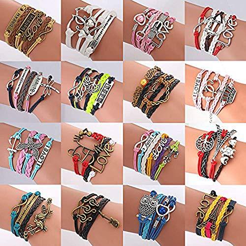 (ThyWay Western Style Hot Handmade Vintage Leather Rope Wrap Bangle Bracelets - Infinity Love Best Friend (16)