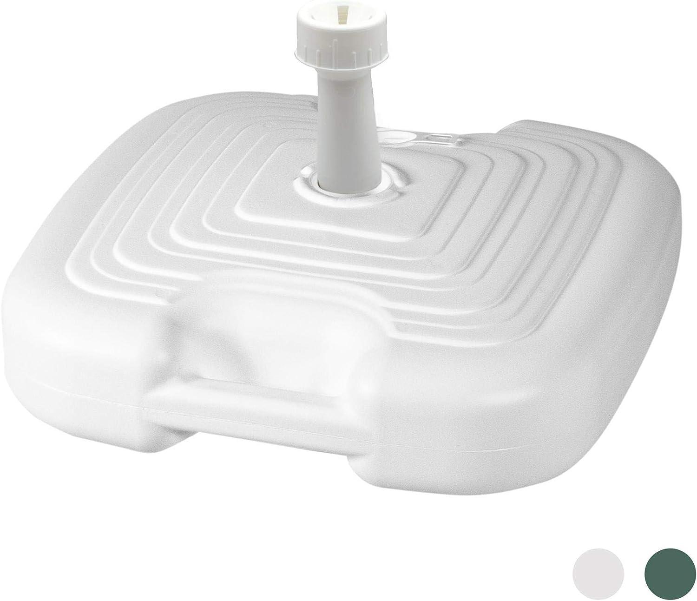 Resol plástico recargable ponderado Sombrilla Parasol base del soporte - Blanco - 15L