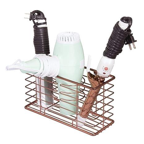 mDesign Soporte para secador de pelo – Organizador de baño de pared con 3 compartimentos –