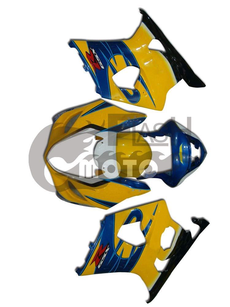 FlashMoto suzuki 鈴木 スズキ K3 GSXR1000 2003 2004用フェアリング 塗装済 オートバイ用射出成型ABS樹脂ボディワークのフェアリングキットセット (イエロー,ブルー)   B07MNHXR1N