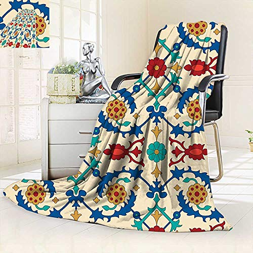 vanfan Super Soft Fleece Throw Blanket Nostalgic Islamic Art Motifs Floral Ornaments Baroque Inspirations Ethnic Design Multi,Silky Soft,Anti-Static,2 Ply Thick Blanket. (90''x90'') by vanfan