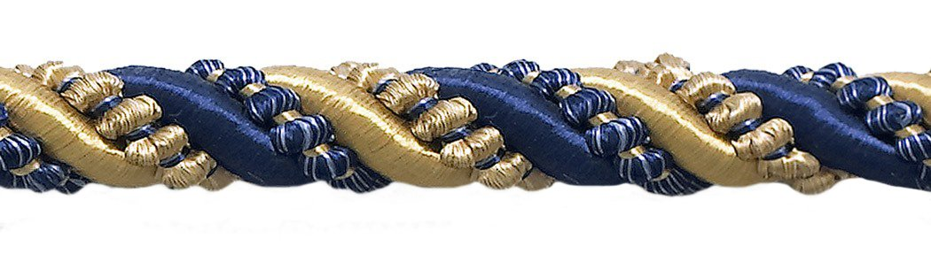 9 Yard Value Pack of Large Gold, Navy Blue 7/16 Imperial II Decorative Cord Without Lip Style# 716I2NL Color: Navy Gold - 1152 (27 Ft / 8 Meters) DecoPro