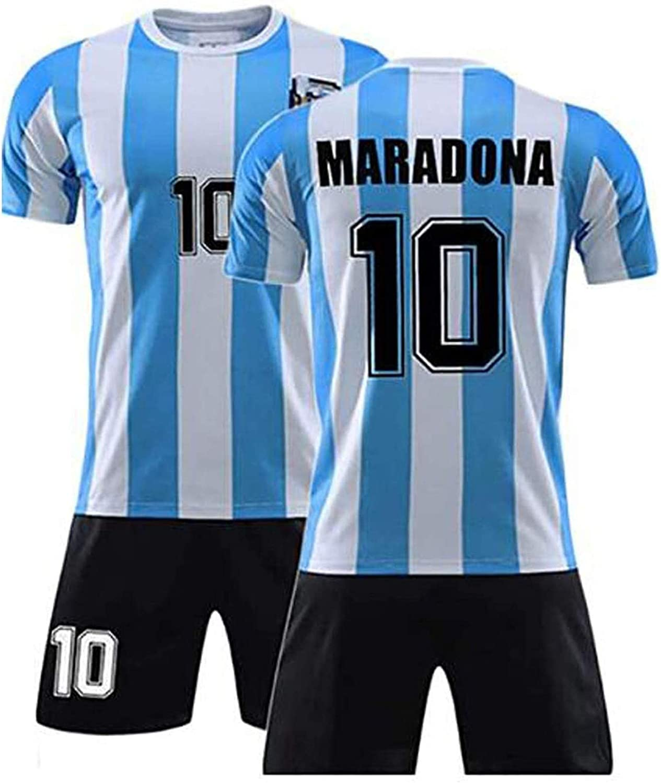 Diego Maradona #10 Argentina Home Soccer Jersey,1986 Argentina World Cup Football Commemorative T-Shirt,Retro Commemorative Football Jersey Set (S)