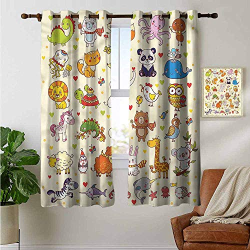 (petpany Light Blocking Curtains Kids,Cartoon Adorable Animals Panda,for Bedroom, Kitchen, Living Room 52