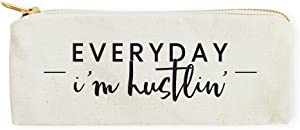 The Cotton & Canvas Co. Everyday I'm Hustlin' Pencil Case, Cosmetic Case and Travel Pouch for Office and Back to School