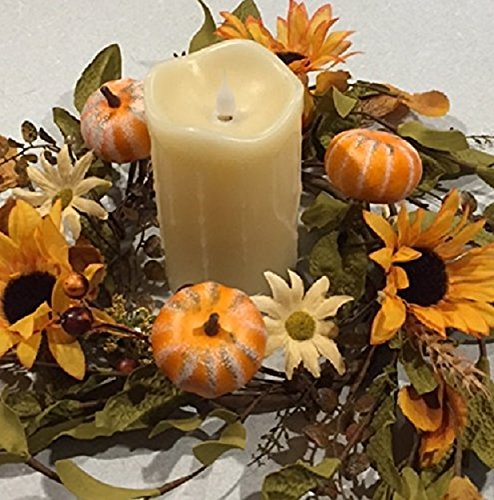 Harvest Hollows Fall Candle Ring Handmade Small Autumn Wreaths Artificial Sunflowers Daisies Pumpkins Berries Wheat Fall Leaves