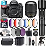 Holiday Saving Bundle for D610 DSLR Camera + 18-140mm VR Lens + 500mm Telephoto Lens + 6PC Graduated Color Filer Set + 2yr Extended Warranty + Backup Battery + UV-CPL-FLD - International Version