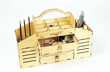 Multipurpose Plywood Tool Storage Organizer With Drawer Diy Wooden Toolbox Craft Kit For Self Assembly Portable Wood Tool Chest With Handle For