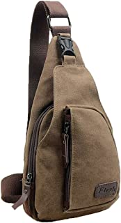 niceeshop(TM) Canvas Mens Satchel Shoulder Bag Chest Pack Crossbody Sports Bag,Coffee