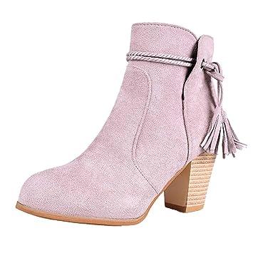 LuckyGirls Botas para Mujer Bandage Flecos Botitas Botín Moda Zapatos de  Tacón 6.5cm 88d5f1f0efc5e