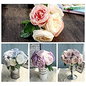 Wondere Artificial Flowers, 'Petals Feel and Look Like Fresh Roses Foliage Floral' Artificial Flower Bouquet Floral Arrangement, Perfect for Wedding, Bridal, Party, Home, Office Décor DIY 51