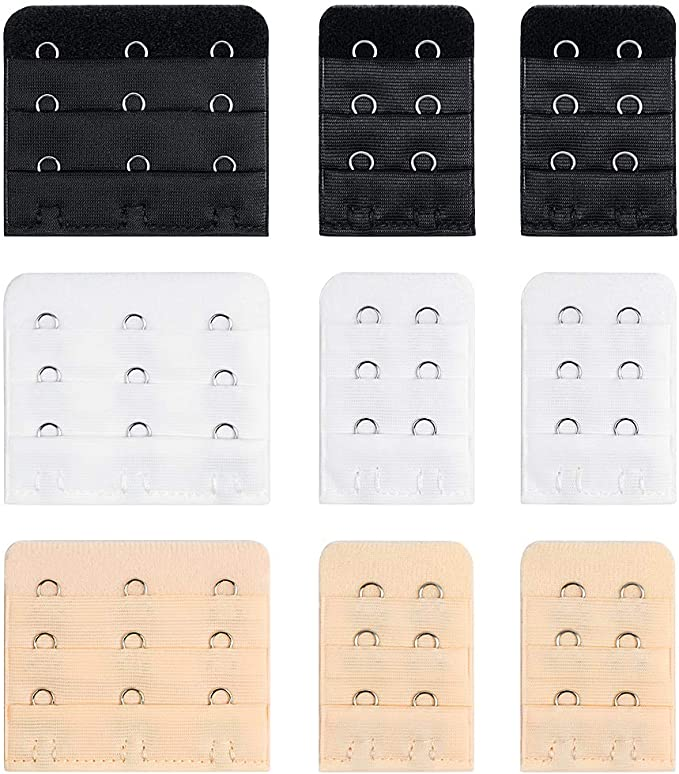 H/&S Bra Strap Extender Strap 40 Extensions 2 and 3 Hook Set 20 Colours Clip