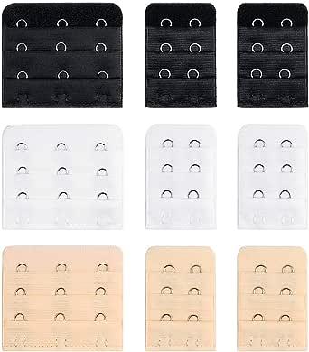 XYGK 9 piezas de extensor de sujetador (Conjunto) tiene el tipo de 3 ganchos y otro tipo de 2 ganchos, suave & cómodo, Extensores de Sujetador de mujer, Negro, Blanco & Beige