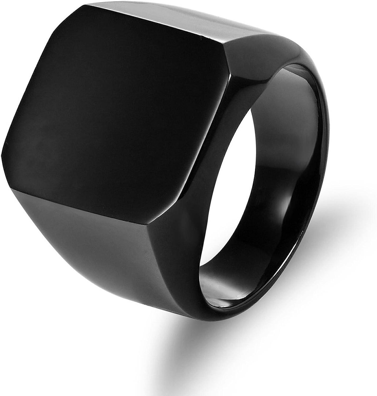 Blisfille Herren Ring Verlobung Titanstahl Edelstahl Ring Herren Hochglanzpoliert Reckteck Partnerring Silber//Schwarz//Gold Ring