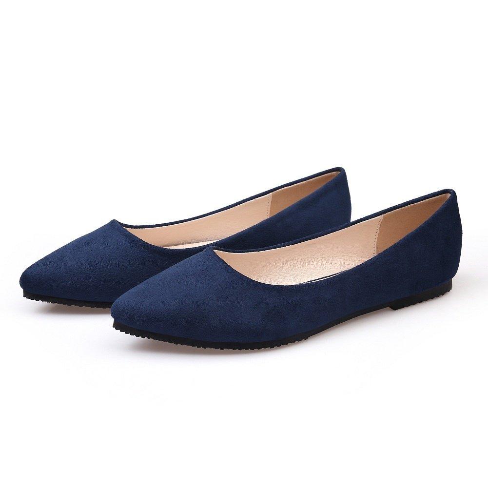 0719cc7c528 Amazon.com | Meeshine Women's Classic Pointy Toe Ballet Flat Comfort Soft  Suede Ballerina Slip On Flats Shoes(5.5 B(M) US, Blue) | Shoes