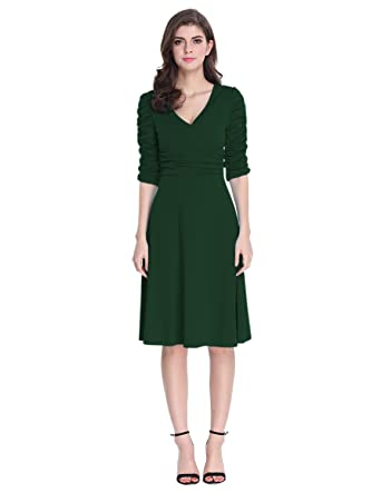 d3360305853 Sue Joe Women s 3 4 Sleeve Dress Ruched Waist Classy V-Neck Casual Cocktail  Dress