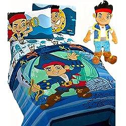 Jake Waves Disney JAKE and the NEVERLAND PIRATES 'WAVES' 5pc Boys Blue TWIN SIZE REVERSIBLE Comforter & Sheet Set w/- ONE PILLOWCASE + JAKE PAL