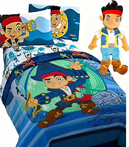 Jake Waves Disney JAKE and the NEVERLAND PIRATES 'WAVES' 5pc Boys Blue TWIN SIZE REVERSIBLE Comforter & Sheet Set w/- ONE PILLOWCASE + JAKE PAL