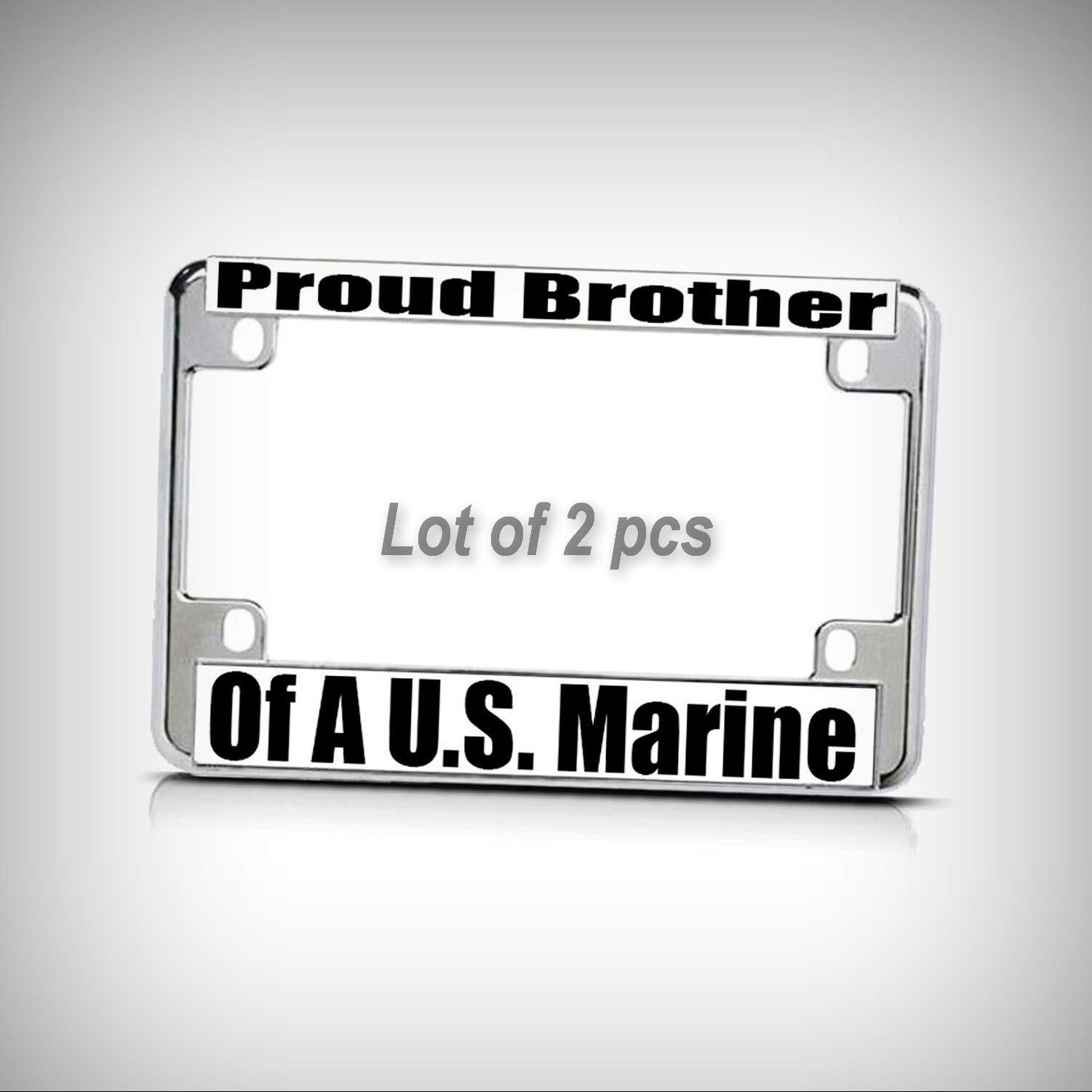 Set of 2 Pcs - Proud Brother of A U.S. Marine Chrome Metal Bike Motorcycle Tag Holder License Plate Frame Decorative Border
