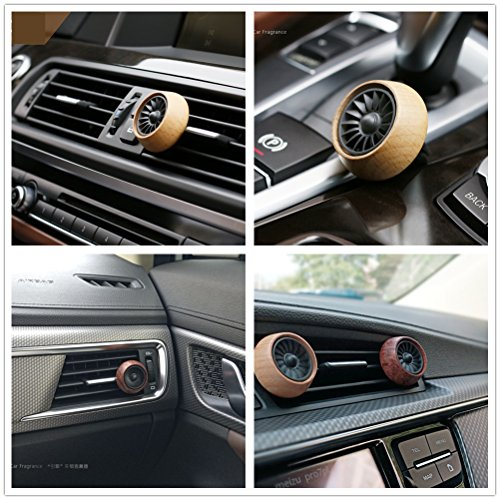 Car Air Freshener Vent Clip - Car Fragrance Diffuser Vent Clip Wooden Car Aromatherapy Essential Oil Diffuser Air Purifier with 3 Refill Oil Pads (Beech)