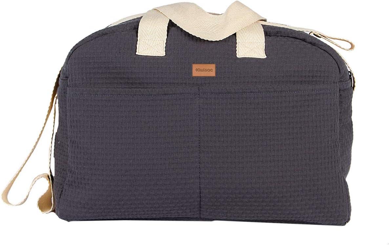 Kiwisac Sweet Grey Bolso Maternal Bebé Unisex con un Diseño Original y Elegante con Asas Cortas/Bolsa de Mamá con Bandolera para Colgar en el Carro | Color Gris | 40x14x30 cm