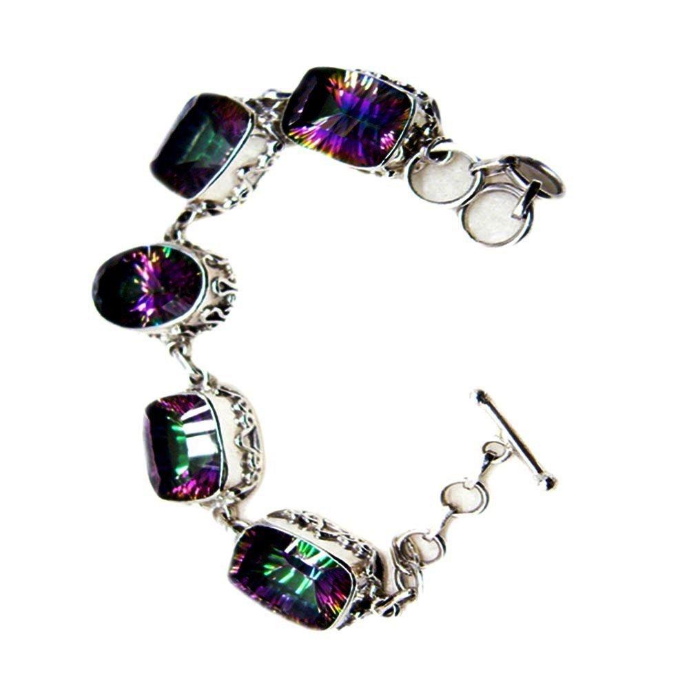 Elegant Mystic Quartz CZ Sterling Silver Bracelet Link Style Handmade Jewelry For Men & Women