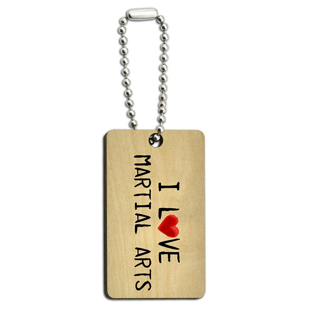 I Love Martial Arts Written on Paper Wood Wooden Rectangle Key Chain