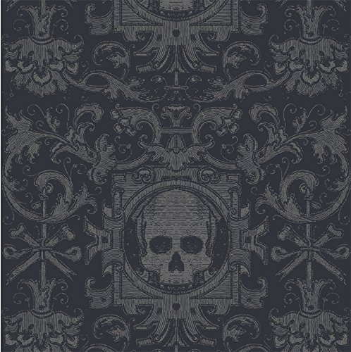 Box Wallpaper - Mitchell Black Skull Box Wallpaper in Black